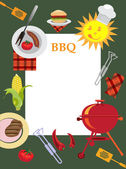 Bbq greeting card with picnic objects. — Stock Photo