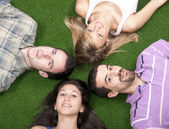 Lying on grass — Stock Photo