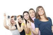 Girls with smartphone — Stock Photo