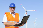 Engineer and wind turbine — Foto Stock