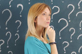 Woman and question mark — Stock Photo