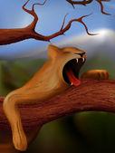 Leoa bocejando — Vetorial Stock