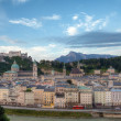 Castle Hohensalzburg and Old City in Morning — Stok fotoğraf