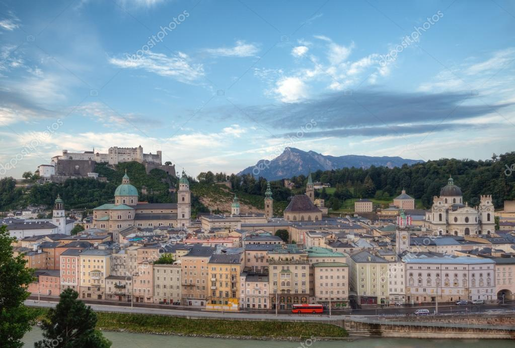 City and Castle Hohensalzburg in Morning - Salzburg, Austria  Stock Photo #18026253
