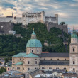 Old City and Castle Hohensalzburg in Morning - Stock Photo