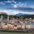 Castle Hohensalzburg and Old City - Stock Photo