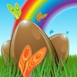 Royalty-Free Stock Vector Image: Illustration of three chocolate easter eggs hidden in a meadow with butterflies. In the background you can see the rainbow. Blue, brown and green.