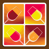Wine collage showing different varieties — Stock Vector