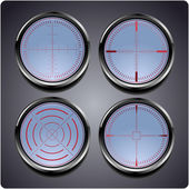 Set of four different crosshairs — Stock Vector