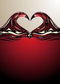 Heart shaped waves on red wine — Stock Vector