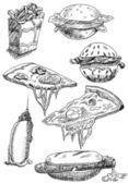 Fast food set hand drawn — Stock Photo