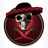 Mexican skull emblem or icon — Stock Vector