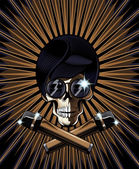 Pop star skull vector illustration — Stock Vector