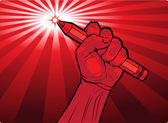 Fist holding a pencil with a fiery point — Stock Vector