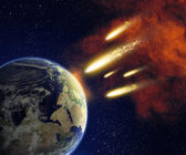 Earth and asteroids — Stock Photo
