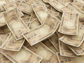 Bundle of Japanese Yen notes. Pile of 10000 Yen — Stock Photo