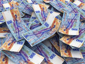 Swiss Currency Bank Notes (Swiss Francs). Pile of 100 CHF — Stock Photo