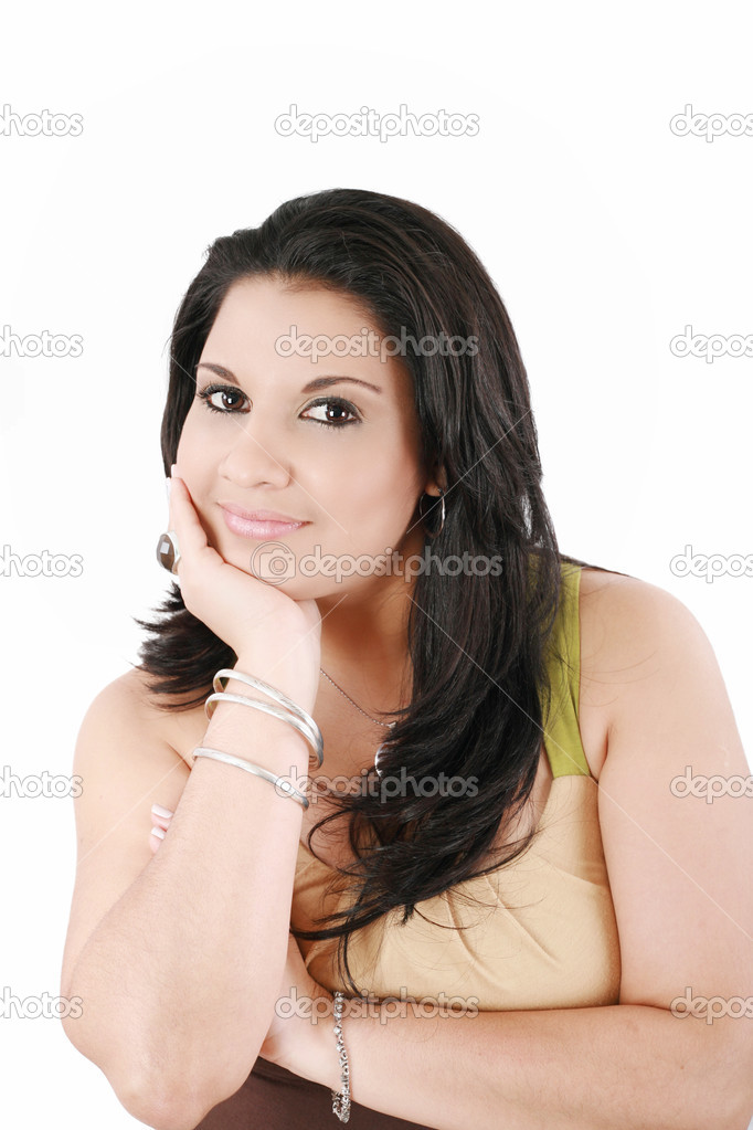 Closeup portrait of a pretty young woman smiling on white background — Stock Photo #12661461
