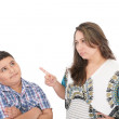 Mother scolding her son isolated on white background — Stock Photo