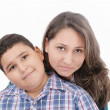 Mother and son - isolated over a white background — Stock Photo