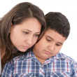 Mother comforting her son — Stock Photo
