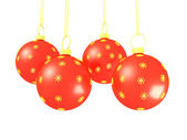 Red christmas balls, isolated on white — Stock Photo