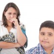 Problems between mother and her son. Family Problems. Focus on t — Stock Photo