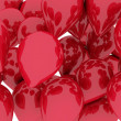 A bunch of red balloons floating. 3d illustration isolated over — Stockfoto