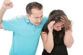 Livrädd misshandlade kvinna försöker stoppa attacken och försvara hennes — Stockfoto
