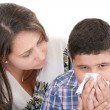 Child blowing nose. Child with tissue. catarrh or allergy — Stock Photo