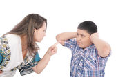 Mother scolding her son with pointed finger — Стоковое фото