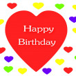 Happy Birthday Heart render (isolated on white) — Foto Stock