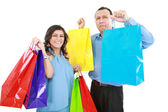 Couple at shopping ,the young woman it is very happy and laughin — Stock Photo