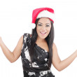 Happy woman with Santa Hat on a white background — Stock Photo #14829815