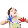 Learning and play themed image of a little girl with hands paint — Stock Photo #14829977