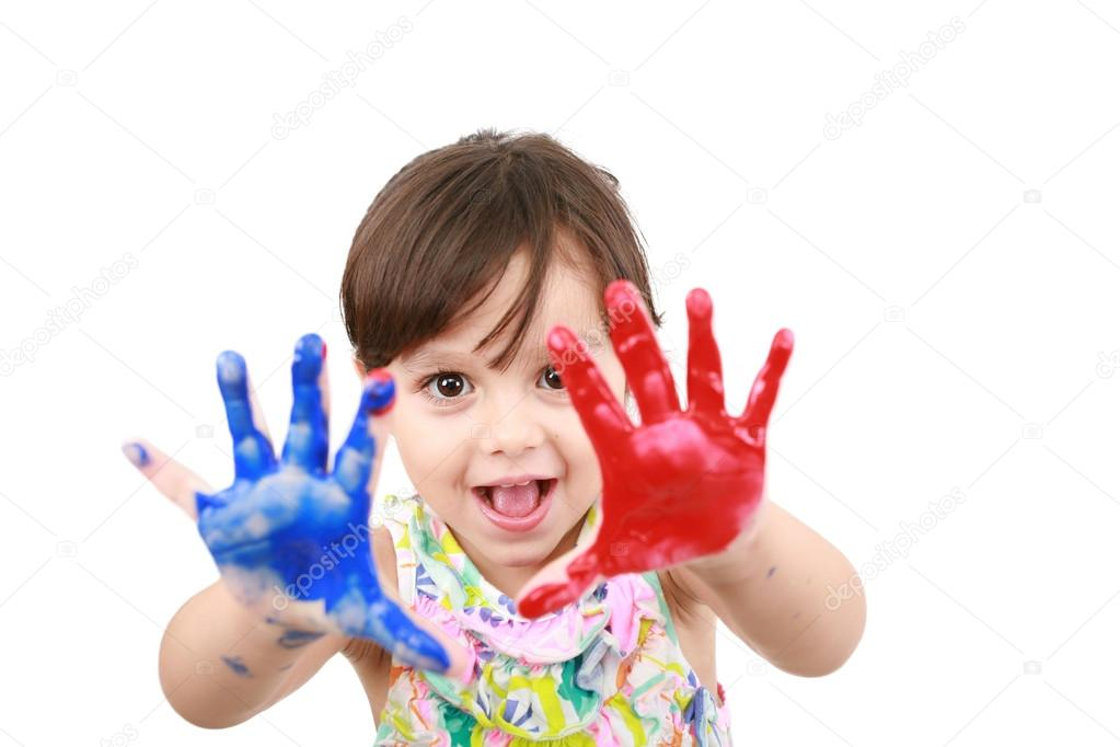 Little girl with painted hands  — Stock Photo #14829983