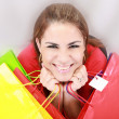 Beautiful shopping woman holding bags — Stock Photo