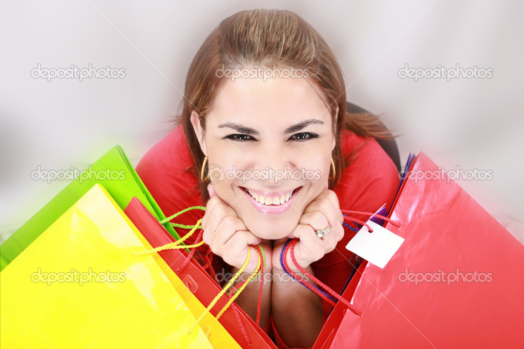 Beautiful shopping woman holding bags  — Stock Photo #15318485