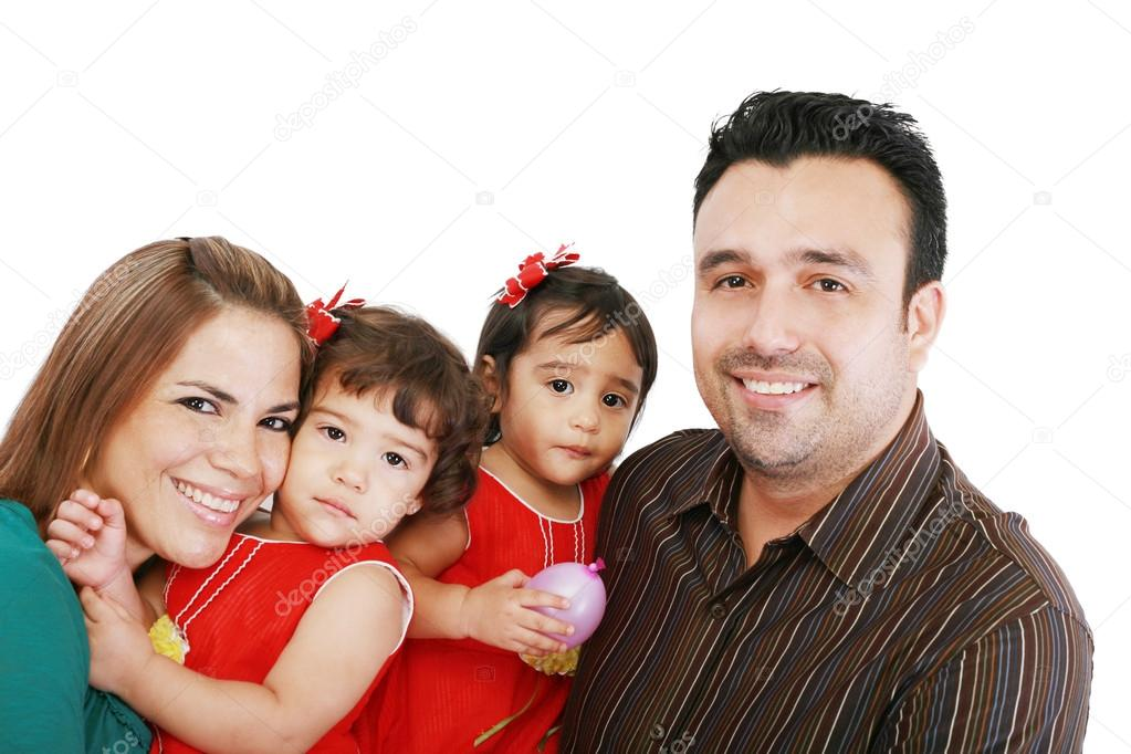 Happy families with children on a white background  — Stock Photo #15318499