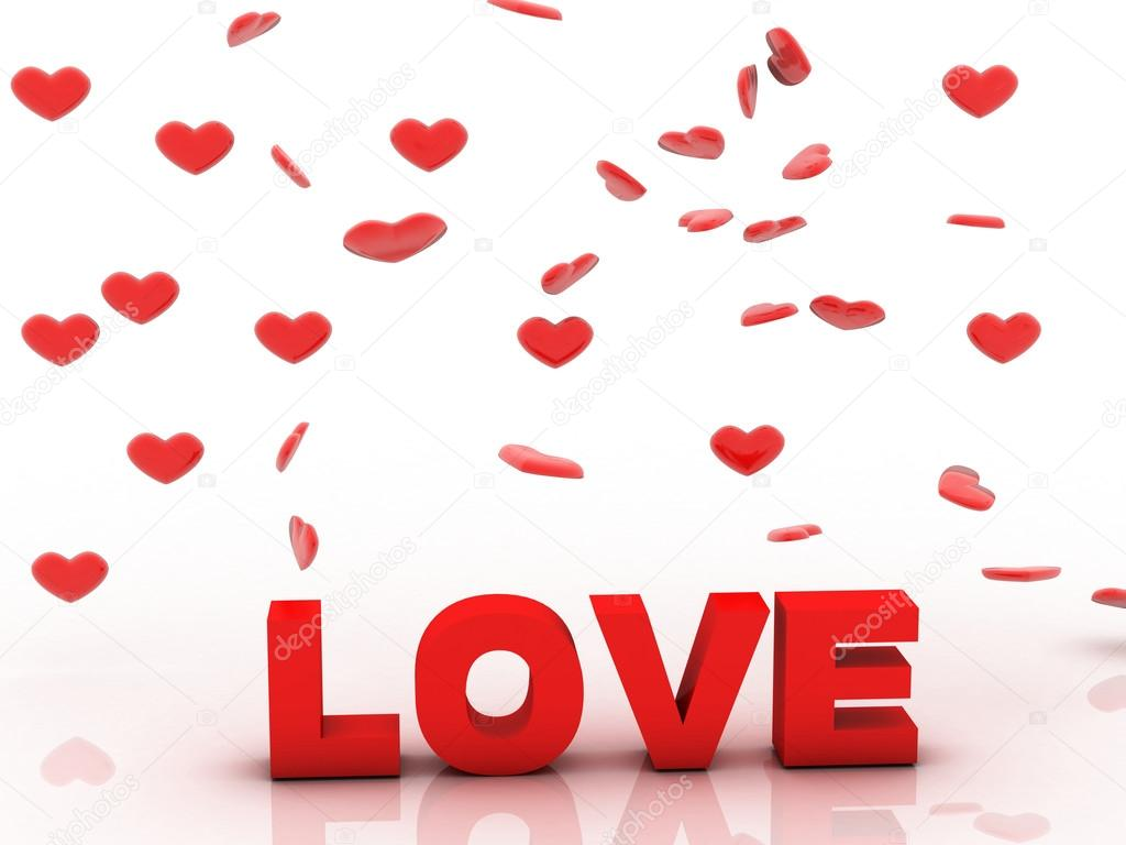 Valentine Love, 3D background with red heart  Stockfoto #15318541