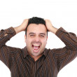 Man screaming at the camera, close up head and shoulders — Stock Photo