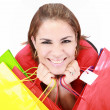 Beautiful shopping woman happy holding shopping bags. — Stock Photo #15639279