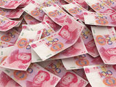 Chinese 100 Yuan bill face within pile of other 100 Yuan bills — Stock Photo