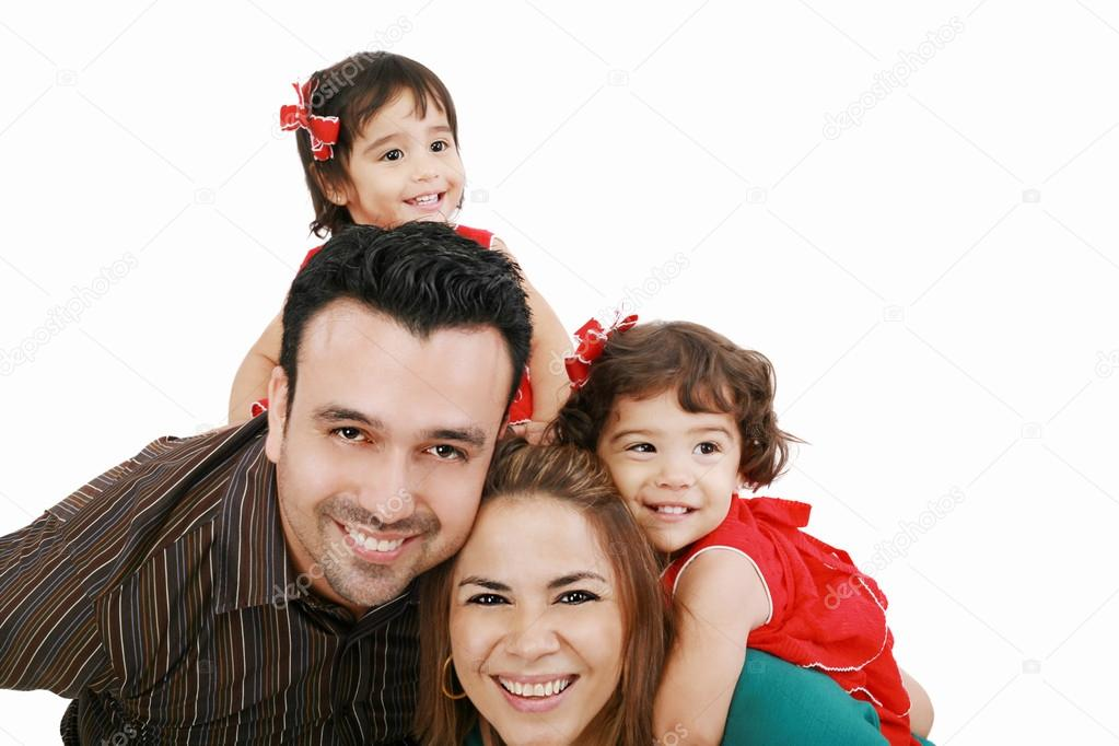 Beautiful family enjoying, mom and dad playing with their daughter — Stock Photo #15638403