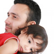 Beautiful little girl hugging embracing her father. Focus in th — Stock Photo