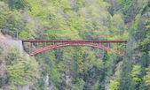Red bridge with mountain in Switzerland — Stock Photo