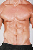 Muscular and tanned male naked torso — Stock Photo