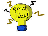 Cartoon yellow lightbulb. Symbol of great idea. — Stock Photo