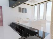 现代客厅。3d 渲染. — 图库照片