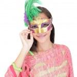 Portrait d'une adolescente de belle séduisante avec masque de carnaval — Photo